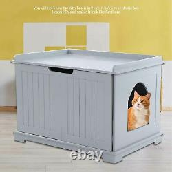 Pet Cat Litter MDF Box Cat Kitty House Indoor Cattery Enclosure Furniture Gray