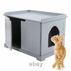 Pet Cat Litter MDF Box Cat Kitty House Indoor Cattery Enclosure Hideaway