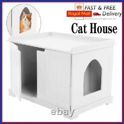 Pet Cat Litter MDF Box Cat Kitty House Indoor Cattery Enclosure Load White
