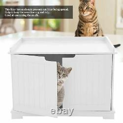 Pet Cat Litter MDF Box Cat Kitty House Indoor Cattery Enclosure White UK STOCK