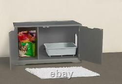Pet Cat Washroom Bench With Removable Partition Wall Elegant And Functional Gray