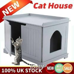 Pets Cat Litter MDF Box Cat Kitty Home House Indoor Cattery Enclosure Gray