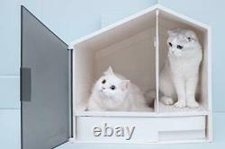 Premium Cat House Litter Box Semi-Enclosed and Front Door Entrance with Scoop