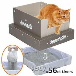 SpeedySift Cat Litter Box with Disposable Litter Box with 56Ct (4 Packs) Liners