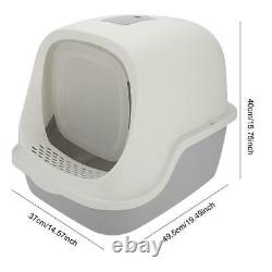Starry Sky Gray Full Enclosed Cats Litter Box Anti Outer Splashing No Odor Cat