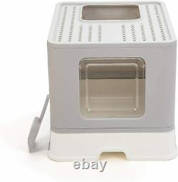 Suhaco Cat Litter Tray with Lid Top Entry Foldable Cats Litter Box Large