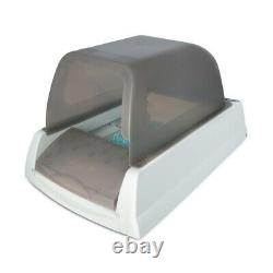 The Scoopfree Ultra Automatic Self-Cleaning Litter Box with Grey Privacy Hood