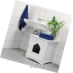 Trixie Pet Products Wooden Cat Home & Litter Box, White
