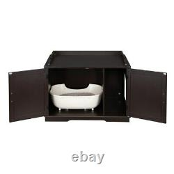Two Colors FCH Cat Litter Box Enclosure Cabinet Large Wooden Indoor Storage