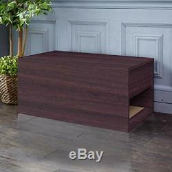 Way Basics Eco Friendly Cat Litter Box Enclosure Sidetable, Espresso Made from