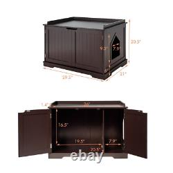 Wooden Cat Litter Box Pet House Side Table Enclosure Home Indoor Living Room Use