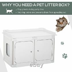Wooden Cat Litter Box Washroom Toilet Home Nightstand Indoor with Partition Board