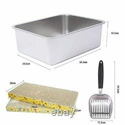 XXL Stainless Steel Cat Litter Box for Two Cats, Large Size Cat Litter
